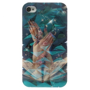 Blu-ray 3D Irregular Figures IMD TPU Case for iPhone 4 4s - Sparkling Wing & Beautiful Hands