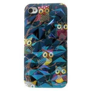 Blu-ray 3D Irregular Figures IMD TPU Case Shell for iPhone 4 4s - Cute Owls