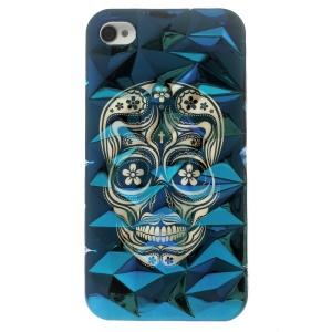 3D Irregular Figures Blu-ray IMD TPU Phone Case for iPhone 4 4s - Cool Skull Head