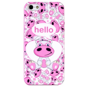 LOFTER Hello Series Sweet Smell IML TPU Gel Case for iPhone 5 5s - Infatuation Hippo