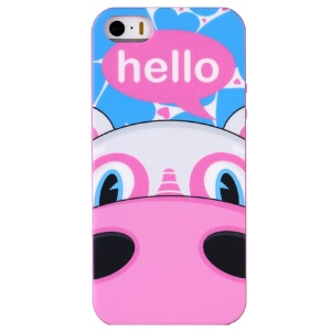 LOFTER Hello Series Sweet Smell IML TPU Shell for iPhone 5 5s - Half Face Hippo Maxine