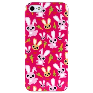 LOFTER Spring Fairy Series Flexible IML TPU Gel Cover for iPhone 5 5s - Rabbits & Carrots