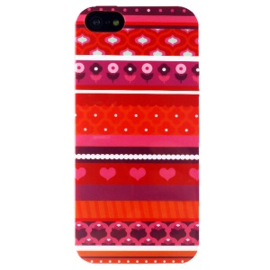 LOFTER Sweet Smell IML TPU Gel Case for iPhone 5 5s - Red Tribal Flowers & Hearts