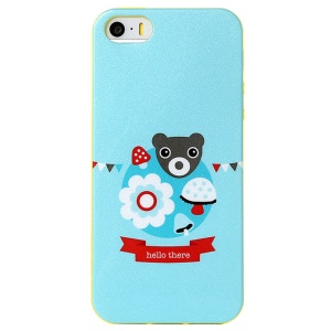 LOFTER Modern Family Series IML Soft TPU Shell for iPhone 5 5s - Hello There Bear & Flower