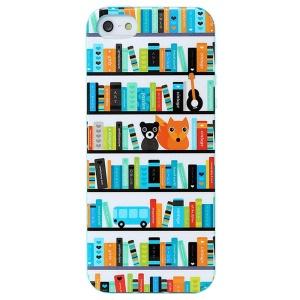 LOFTER Modern Family Series Soft IML TPU Skin Case for iPhone 5 5s - Bookshelf