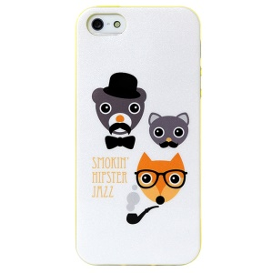 LOFTER Modern Family Series IML Soft TPU Cover for iPhone 5 5s - Smoking Hipster Razz