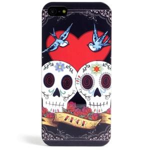 LOFTER Skull Series Love Skull Couple IML TPU Skin Case for iPhone 5 5s w/ Sweet Smell