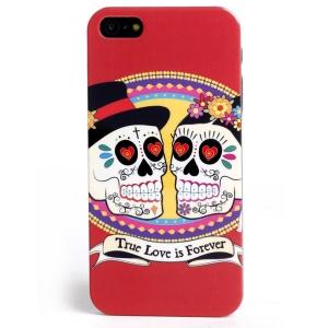 LOFTER Skull Series IML TPU Back Cover for iPhone 5 5s - True Love is Forever Skull Couple