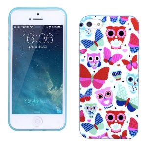LOFTER for iPhone 5 5s Fragrance IML TPU Cover Case - Colorful Owls & Butterflies