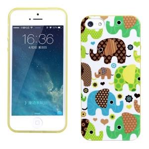 LOFTER for iPhone 5 5s Fragrance IML TPU Phone Case Shell - Green Elephants