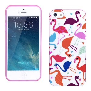 LOFTER for iPhone 5 5s Sweet Smell IML Soft TPU Cover - Colorful Flamingos