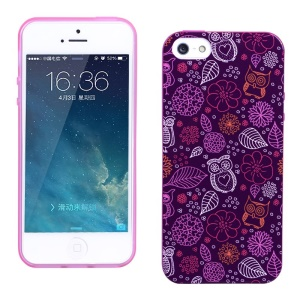 LOFTER Fragrance IML TPU Gel Cover for iPhone 5 5s - Purple Owls & Leaves & Flowers