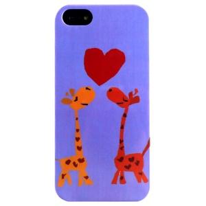 LOFTER Cartoon Series Soft IML TPU Back Shell for iPhone 5 5s - Love Heart Giraffes