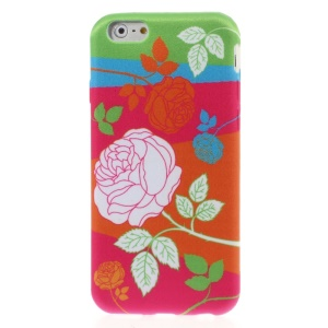 Rose Pattern Cloth Coated TPU Case for iPhone 6 4.7-inch