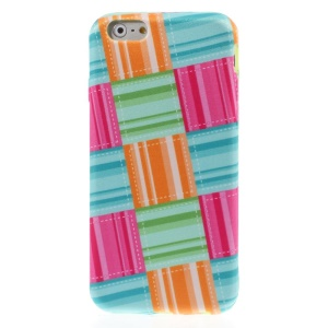 Colorful Check Pattern Cloth Coated TPU Case for iPhone 6 4.7-inch