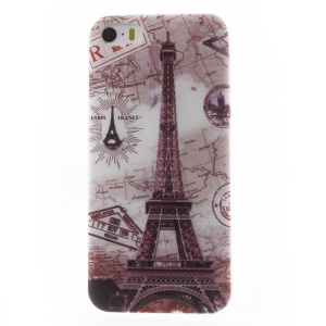 0.6mm Thin TPU Gel Cover for iPhone 5s 5 - Eiffel Tower and Map