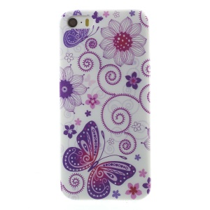 0.6mm Slim Soft TPU Case for iPhone 5s 5 - Butterfly and Flower
