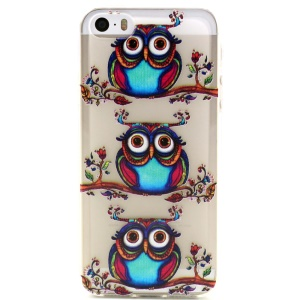Colorized Owls Embossed TPU Cover Case for iPhone 5 5s