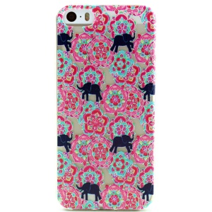 Flowers and Elephants Embossed TPU Cover Case for iPhone 5 5s