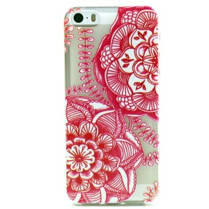 Red Mandala Embossed TPU Cover Case for iPhone 5 5s