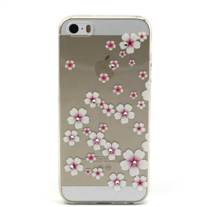 Pink Flower Pattern TPU Diamond Embossed Cover for Apple iphone 5/5S