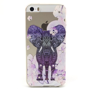 Elephant and Flower Pattern TPU Diamond Embossed Cover for Apple iphone 5/5S