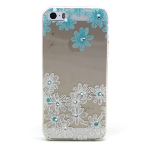 Daisy Flower Pattern TPU Diamond Embossed Cover for Apple iphone 5/5S