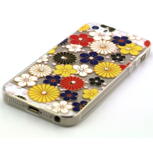 Colorful Flowers Pattern TPU Diamond Embossed Cover for Apple iphone 5/5S