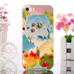 Jelly TPU Case Blue-ray Effect for iPhone 5s 5 - Wine Glass and Sea Animals