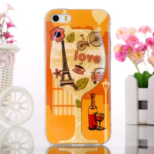 Soft TPU Case Blue-ray Effect for iPhone 5s 5 - Wine Glass and Eiffel Tower