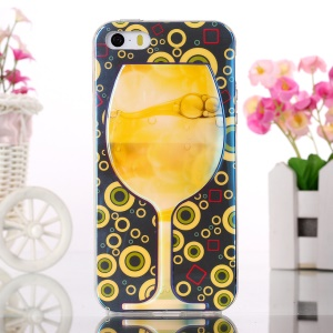 Blue-ray Soft TPU Cover for iPhone 5s 5 - Wine Glass and Circles