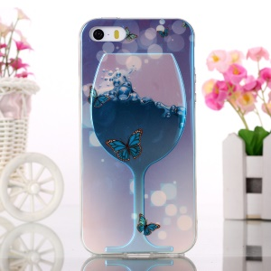 Blue-ray Soft TPU Back Case for iPhone 5s 5 - Wine Glass and Butterflies