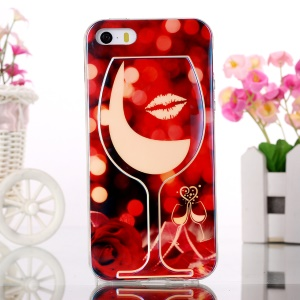Blue-ray Gel TPU Phone Case for iPhone 5s 5 - Wine Glass and Rose