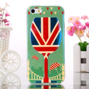 Blue-ray Gel TPU Skin Cover for iPhone 5s 5 - Wine Glass and Union Jack