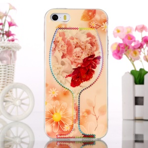 TPU Protective Cover Blue-ray for iPhone 5s 5 - Wine Cup and Blooming Flowers