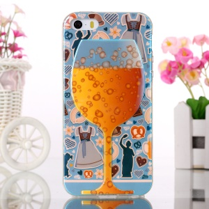 Blue-ray TPU Cover for iPhone 5s 5 - Wine Cup and Funny Elements of Life