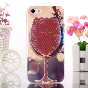 Blue-ray Soft TPU Gel Cover for iPhone 5s 5 - Wine Cup and Happy Times Flowers
