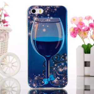 Blue-ray Soft TPU Gel Case for iPhone 5s 5 - Wine in Wine-Cup and Blue Bowknot