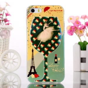 Blue-ray TPU Gel Case for iPhone 5s 5 - Dancing Girl in Wine-cup and Eiffel Tower