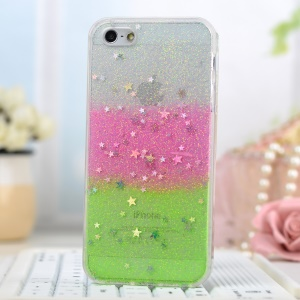 Glitter Powder Stars Rainbow Soft TPU Shell for iPhone 5/5s - Pink / Green