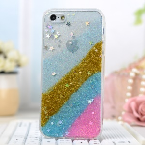 Glitter Powder Stars Rainbow Soft TPU Skin Cover for iPhone 5/5s - Gold / Pink