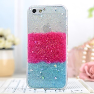 Glitter Powder Stars Rainbow Soft TPU Skin Case for iPhone 5/5s - Red / Blue