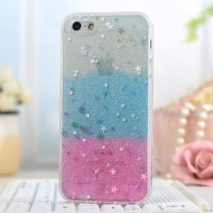 Glitter Powder Stars Rainbow Soft TPU Phone Cover for iPhone 5/5s - Blue / Pink