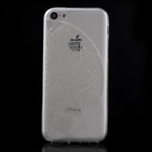 Ultra Slim TPU Case for iPhone 5C - Half White Mandala Flower