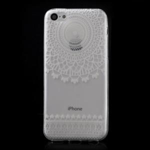 Ultra Slim TPU Cover for iPhone 5C - White Fence & Mandala Pattern