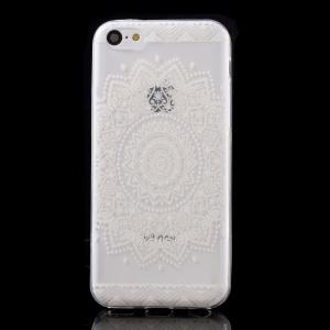 Ultra Slim TPU Cover Case for iPhone 5C - Indian Mandala Flower