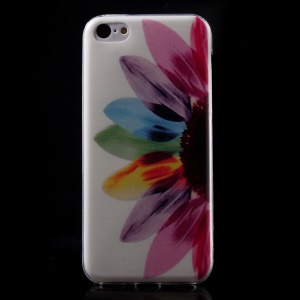 Ultra Slim TPU Cover Shell for iPhone 5C - Half Colorful Sunflower
