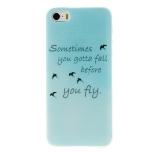 Patterned Soft TPU Skin Case for iPhone 5s/5 - Birds and Quote