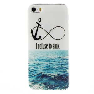 Patterned Gel TPU Phone Case for iPhone 5s/5 - Anchor and I Refuse to Sink