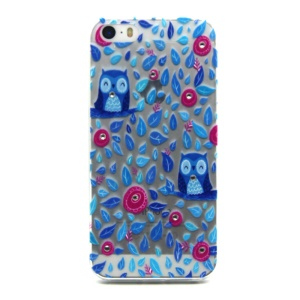 Embossing Leaves and Owls TPU Case for iPhone 5 / 5s with Decorated Crystals